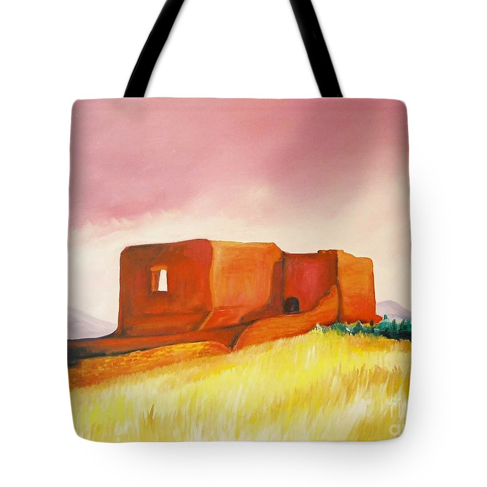 Western Landscapes Tote Bag featuring the painting Pecos Mission Nm by Eric Schiabor