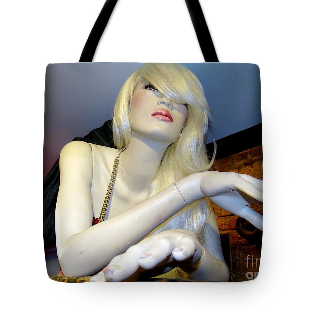 Mannequins Tote Bag featuring the photograph Peekaboo Blonde by Ed Weidman