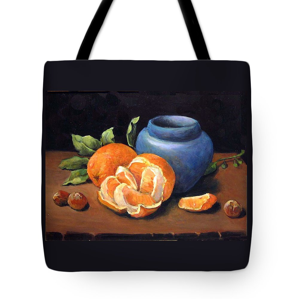 Classical Realism Still Life Tote Bag featuring the painting Peeled Orange by Donna Tucker