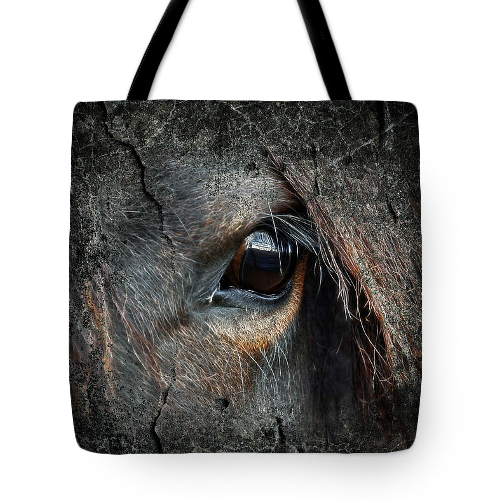 Wild Horses Tote Bag featuring the photograph Peering Out by Steve McKinzie