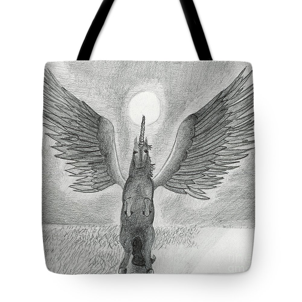 Horse Tote Bag featuring the drawing Pegasus 02 by J M Lister