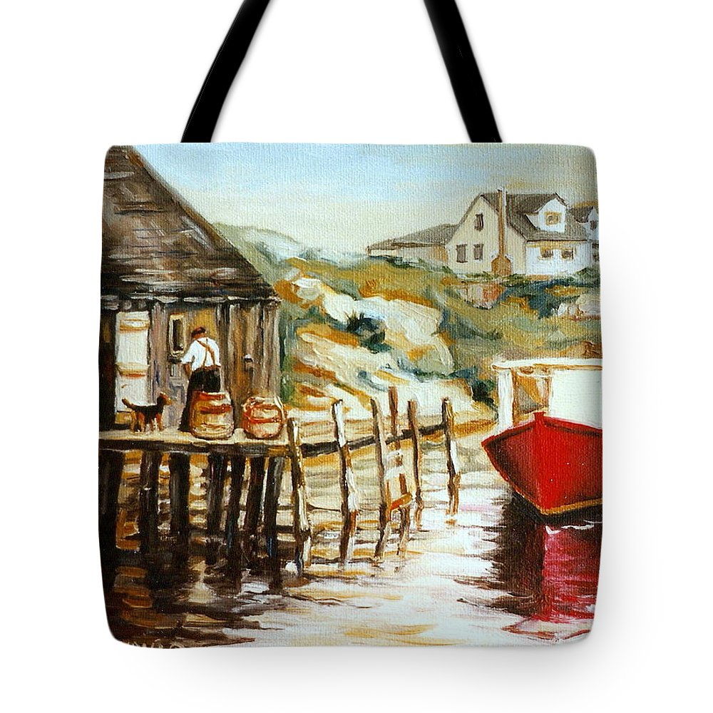 Peggys Cove Tote Bag featuring the painting Peggy's Cove Nova Scotia Fishing Village With Red Boat by Carole Spandau