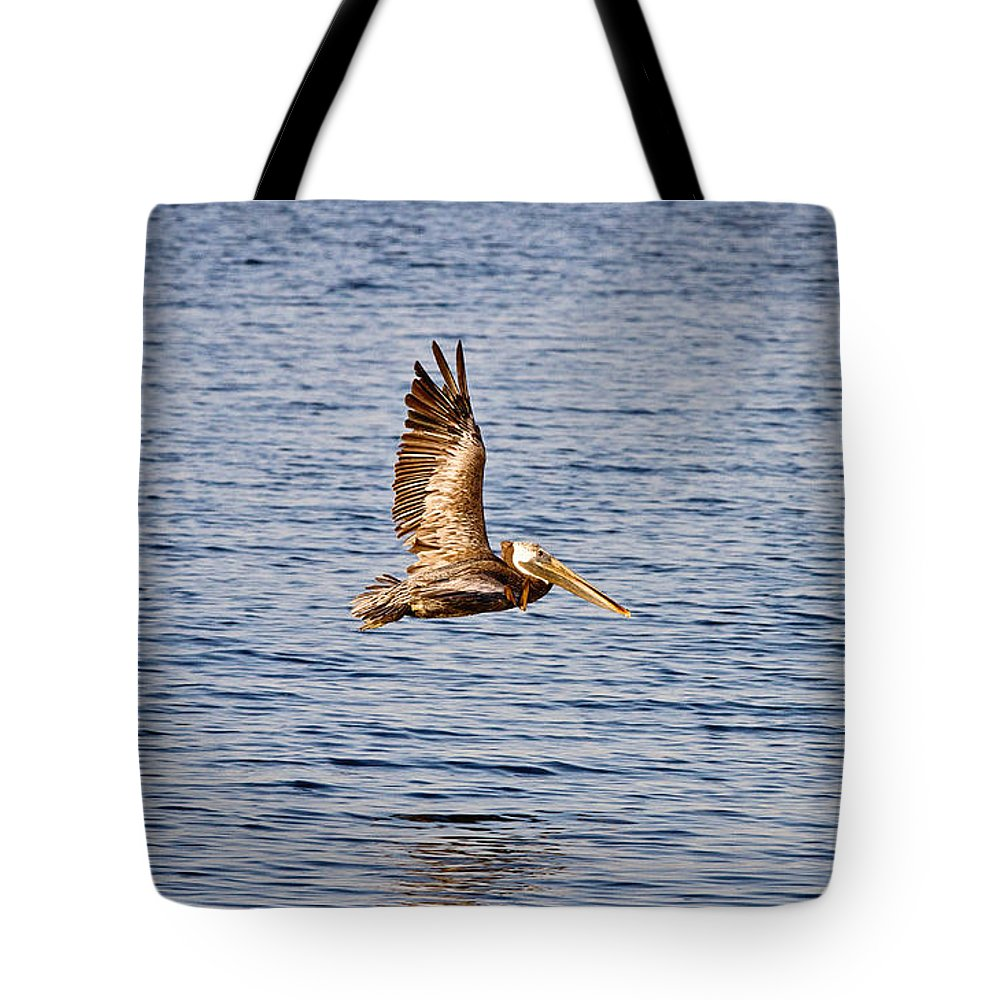 Pelican Tote Bag featuring the photograph Pelican In Flight by Scott Pellegrin