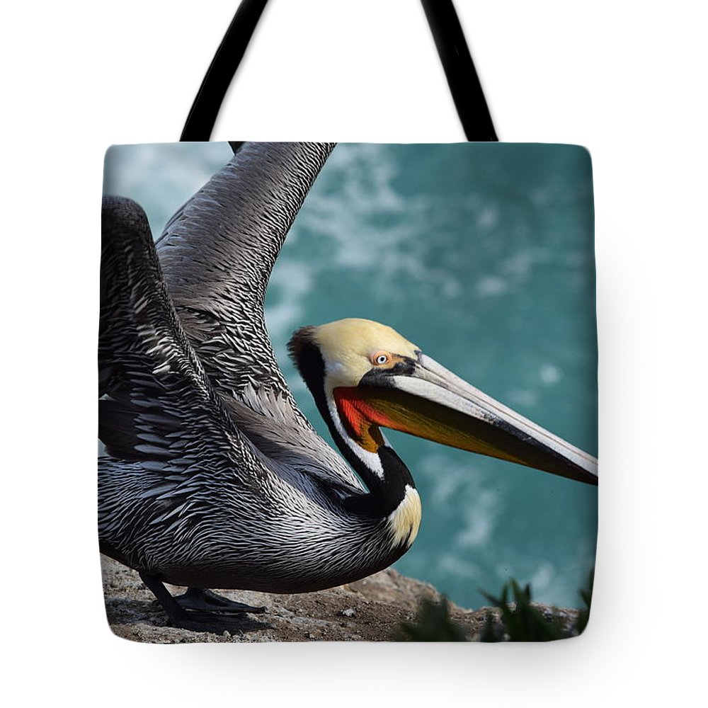 Pelican Tote Bag featuring the photograph Pelican Lift Off by Eric Johansen