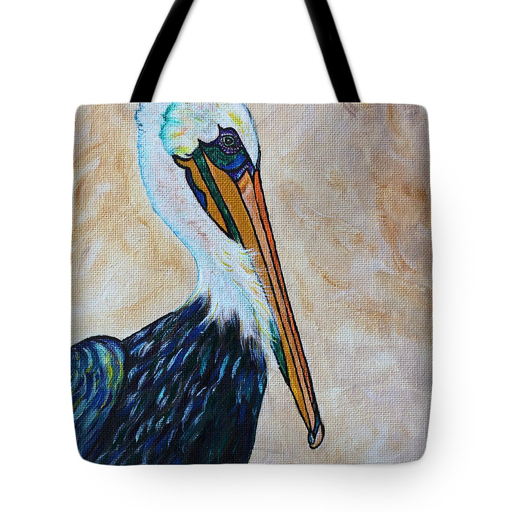 Pelican Painting Tote Bag featuring the painting Pelican Pointe by Ella Kaye Dickey