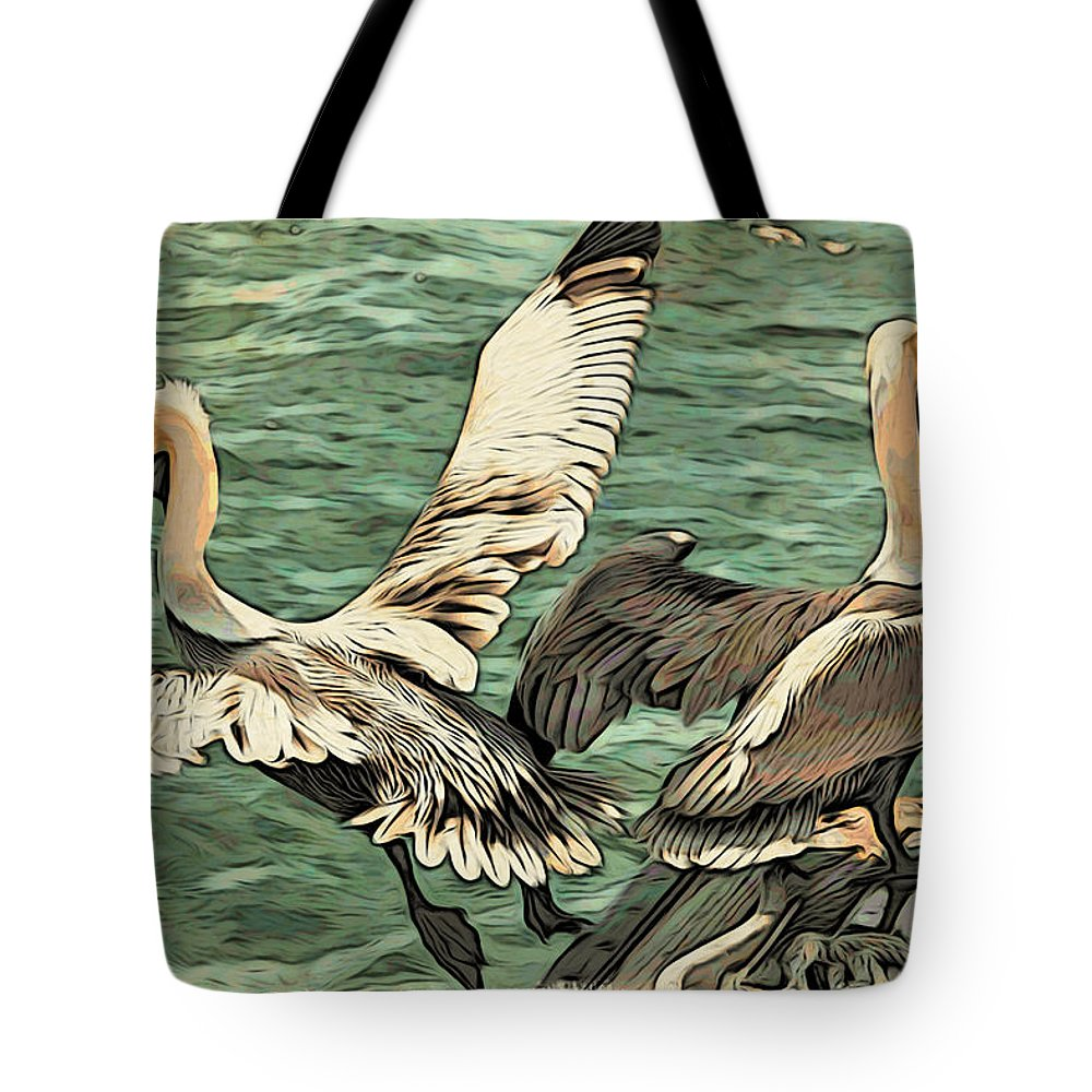 Pelicans Tote Bag featuring the photograph Pelican Take Off Two by Alice Gipson