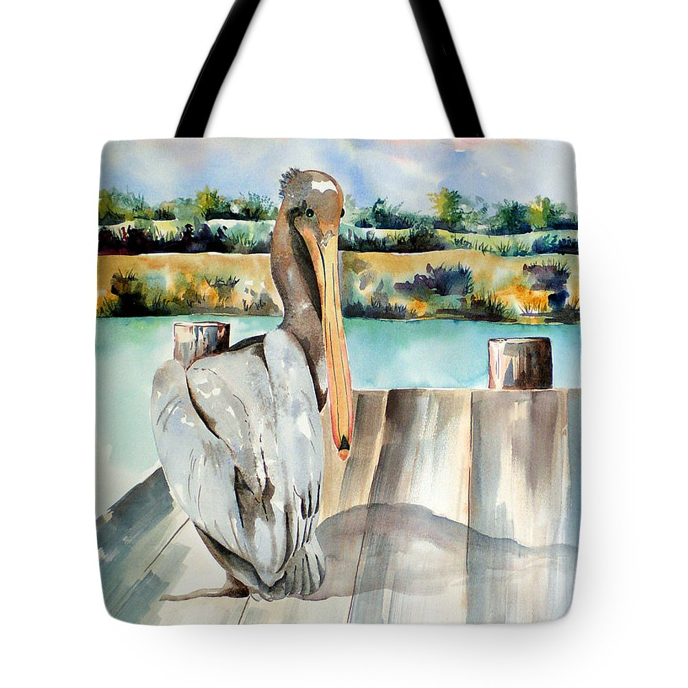 Pelican Painting Tote Bag featuring the painting Pelican With An Attitude by Kandyce Waltensperger