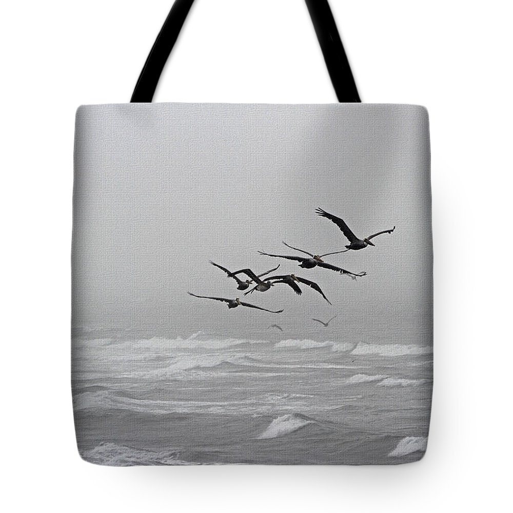 Pelicans With Full Bellies Tote Bag featuring the photograph Pelicans With Full Bellies by Tom Janca