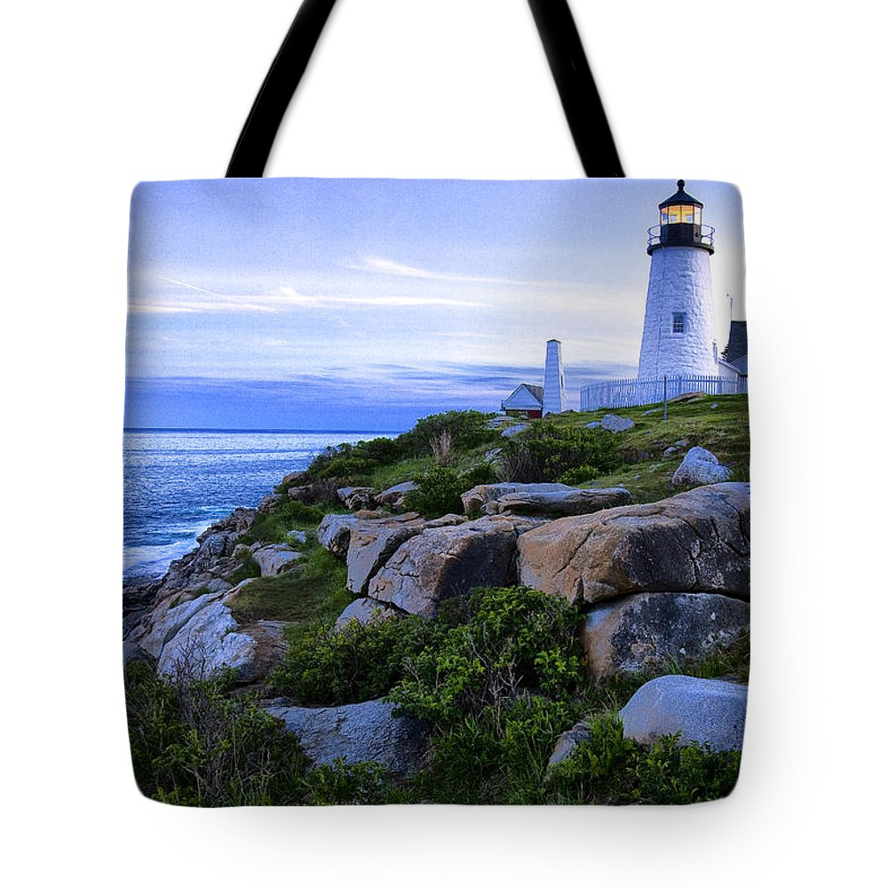Pemaquid Tote Bag featuring the photograph Pemaquid Light At Sunset by Diana Powell