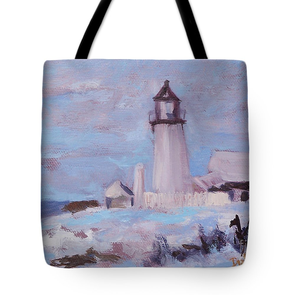 Seascape Tote Bag featuring the painting Pemaquid New Years by Alicia Drakiotes