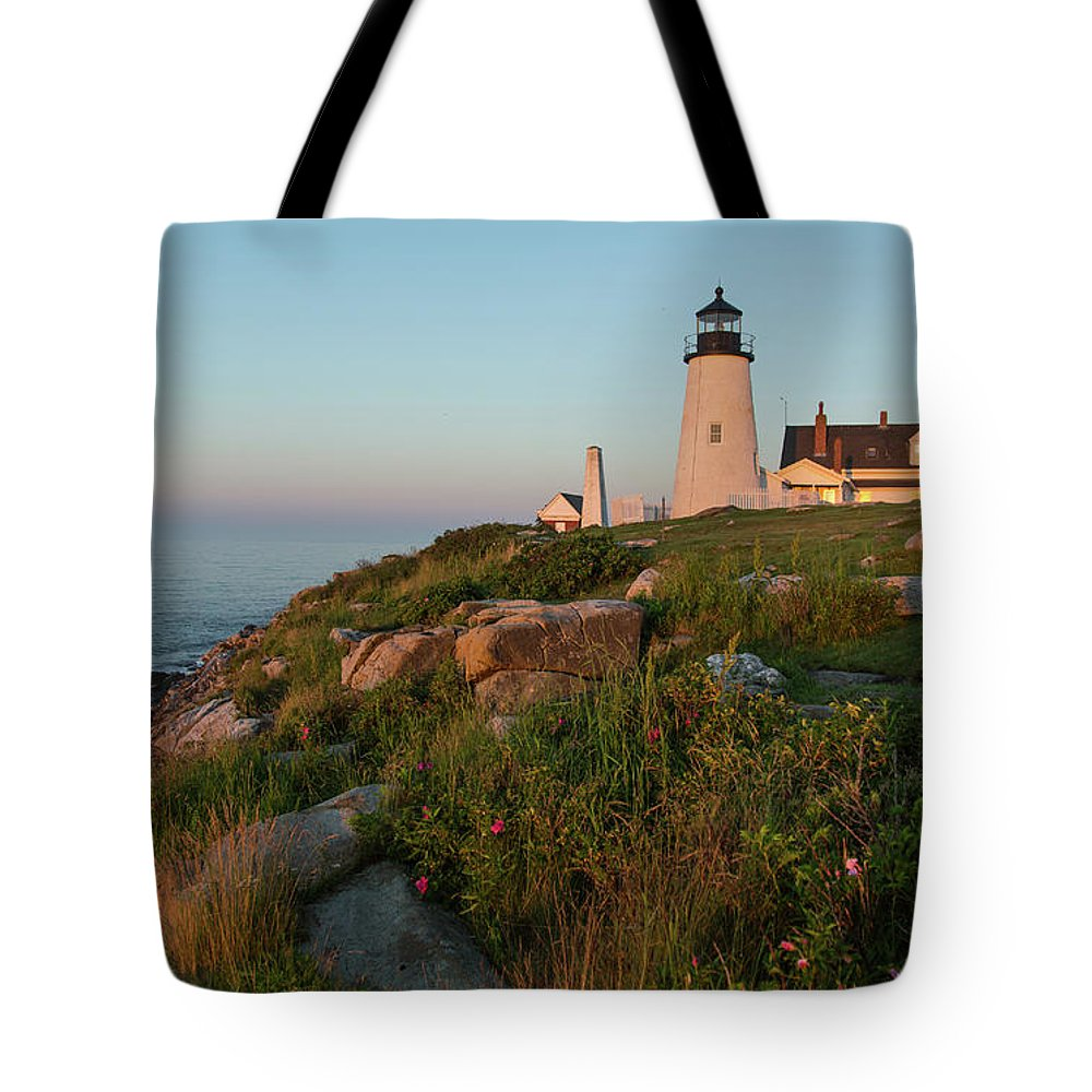 Tranquility Tote Bag featuring the photograph Pemaquid Point Maine Lighthouse by Dave Mention Photography