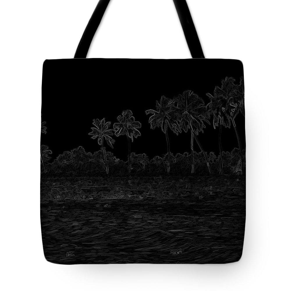 Alleppey Tote Bag featuring the digital art Pencil - Water Rippling In The Coastal Lagoon by Ashish Agarwal