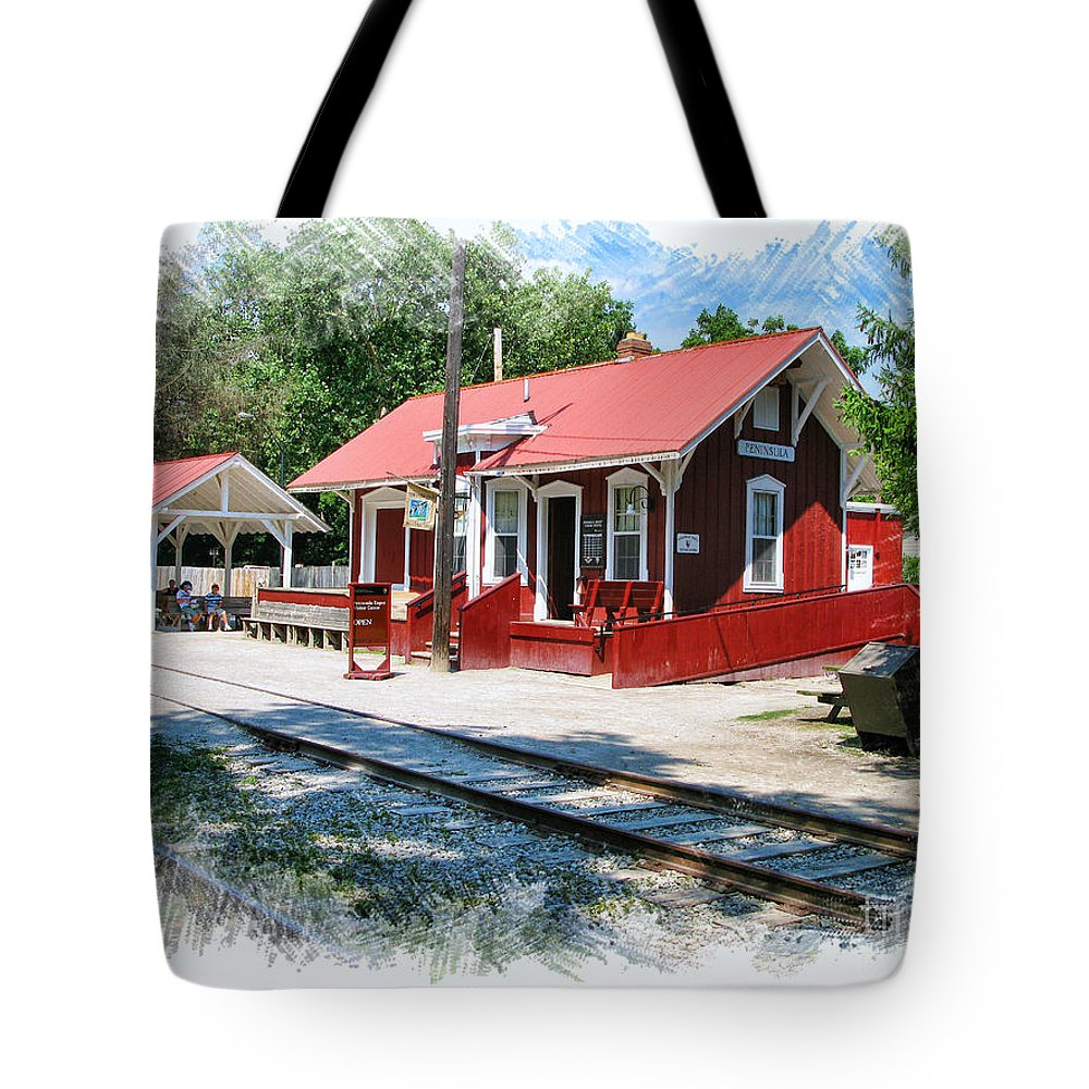 Peninsula Ohio Tote Bag featuring the photograph Peninsula Train Station by Jack Schultz