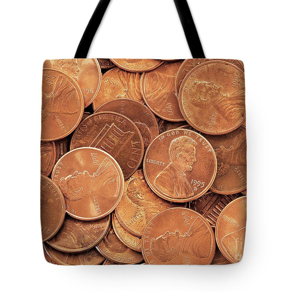 Penny Tote Bag featuring the photograph Pennies by David Davis