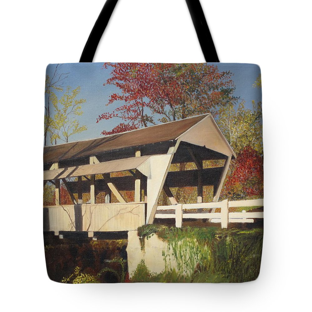 covered Bridge Tote Bag featuring the painting Pennsylvania Covered Bridge by Barbara McDevitt
