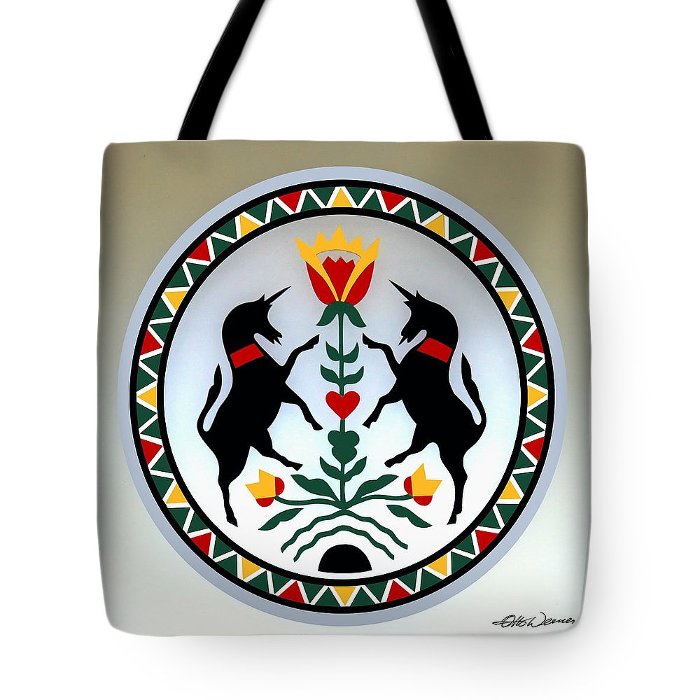 Folk Art Tote Bag featuring the painting Pennsylvania Dutch Hex 13 by Hanne Lore Koehler