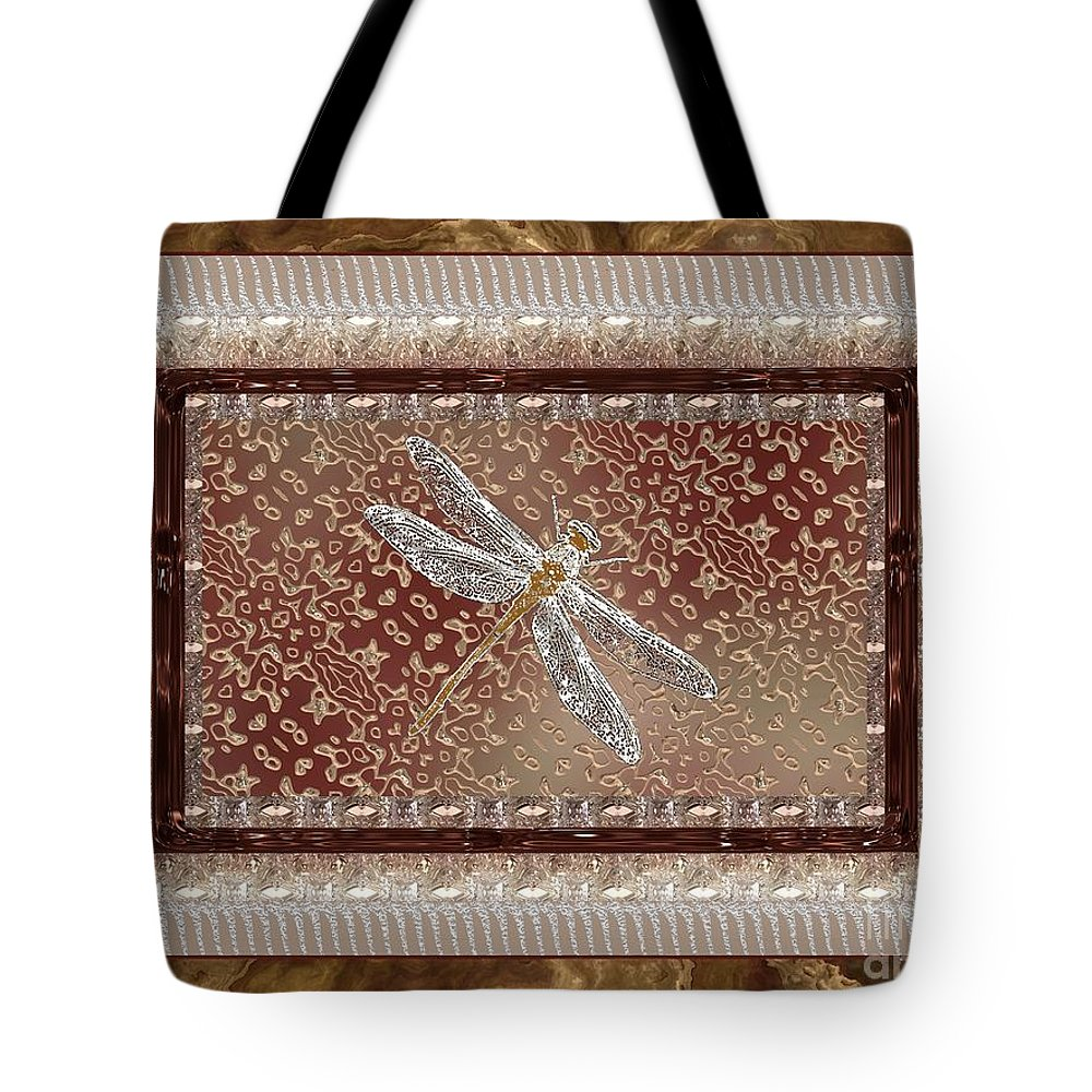 Dragonfly Tote Bag featuring the painting Penny Postcard Sophisticated by RC DeWinter