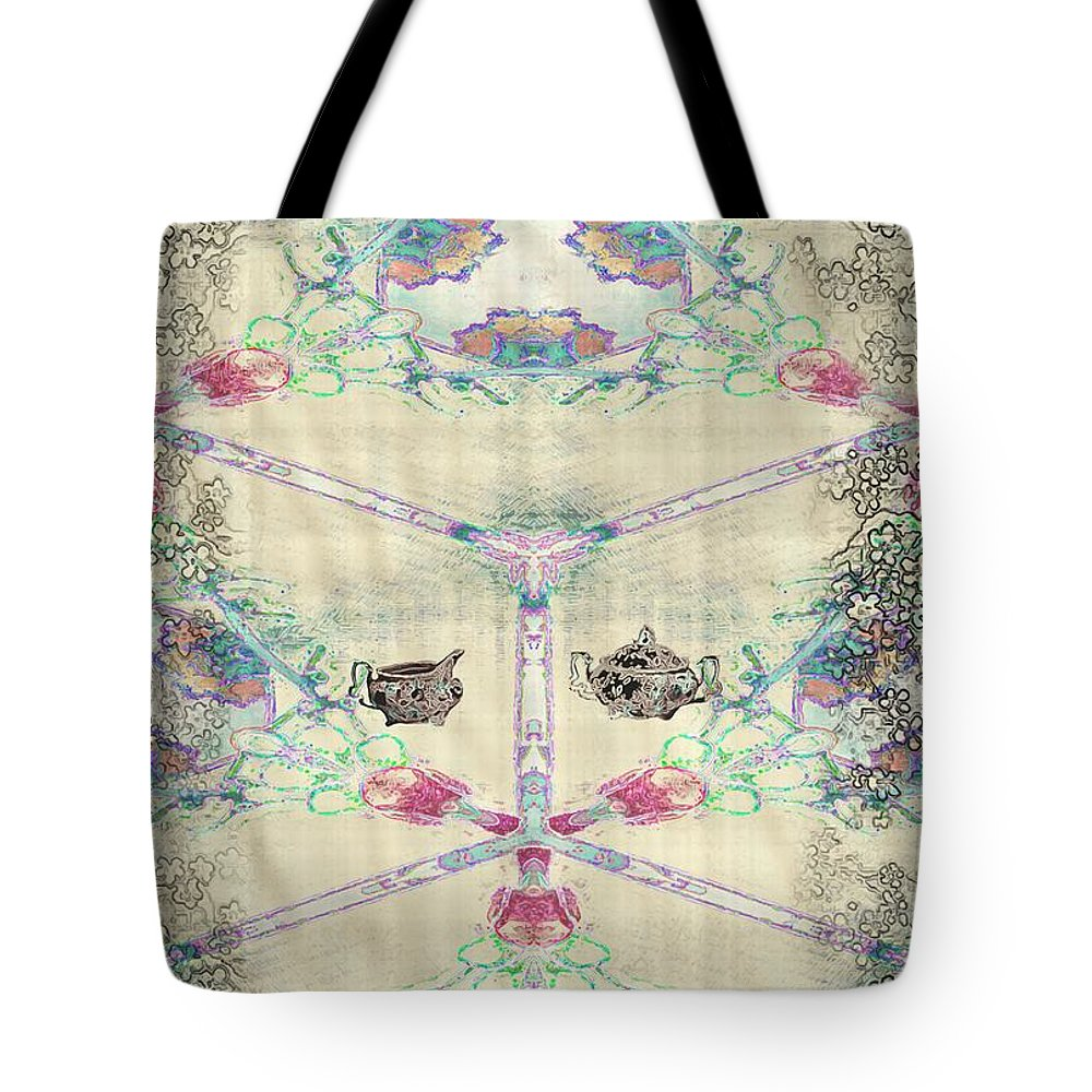Asian Tote Bag featuring the painting Penny Postcard Teahouse by RC DeWinter