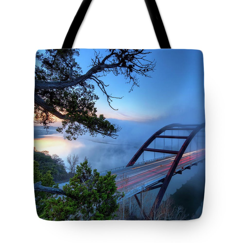 Tranquility Tote Bag featuring the photograph Pennybacker Bridge In Morning Fog by Evan Gearing Photography