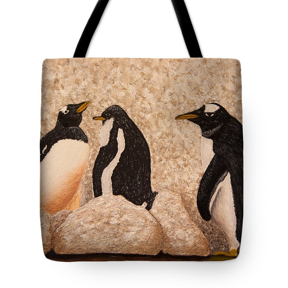 Penquin Tote Bag featuring the painting Penquin Family by Susan Cliett