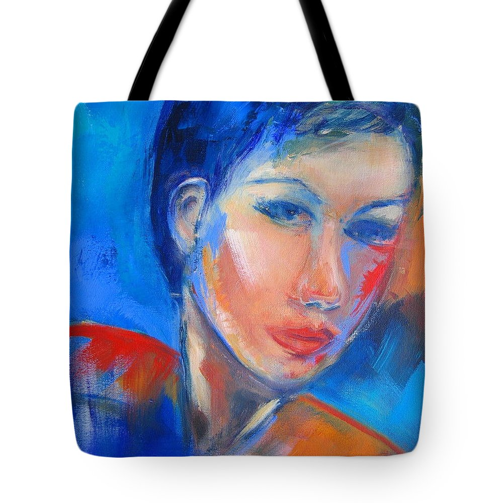Face Tote Bag featuring the painting Pensive by Elise Palmigiani