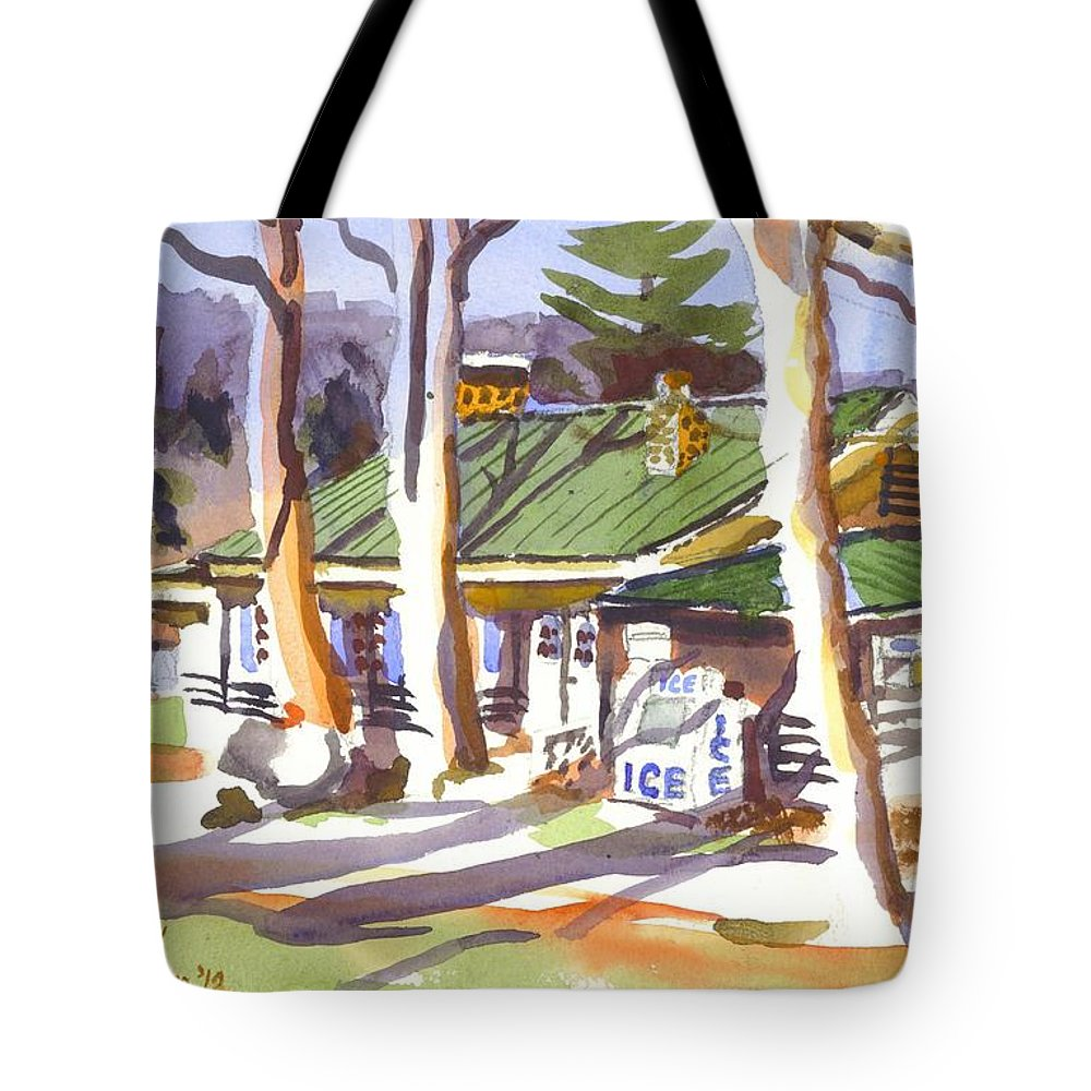 Kipdevore Tote Bag featuring the painting Penuel Lodge In Winter by Kip DeVore