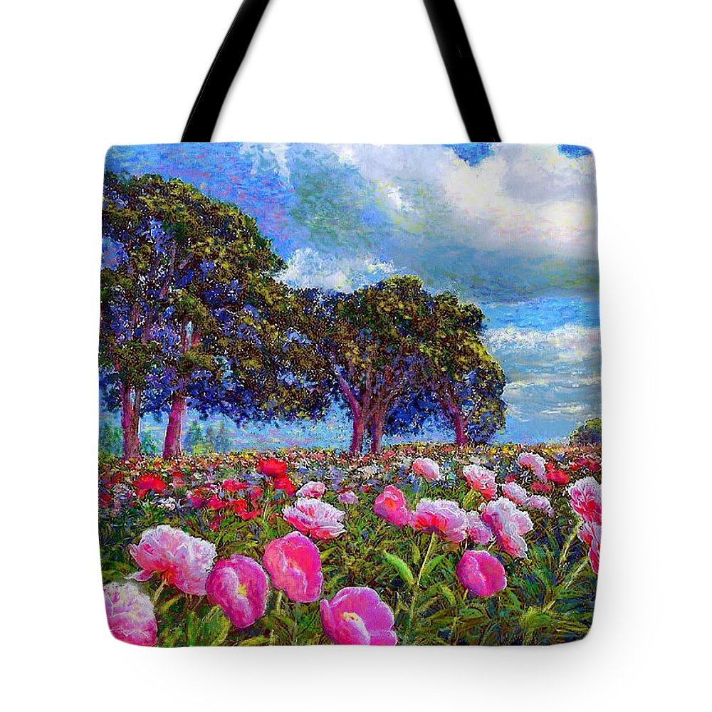 Floral Tote Bag featuring the painting Peony Heaven by Jane Small