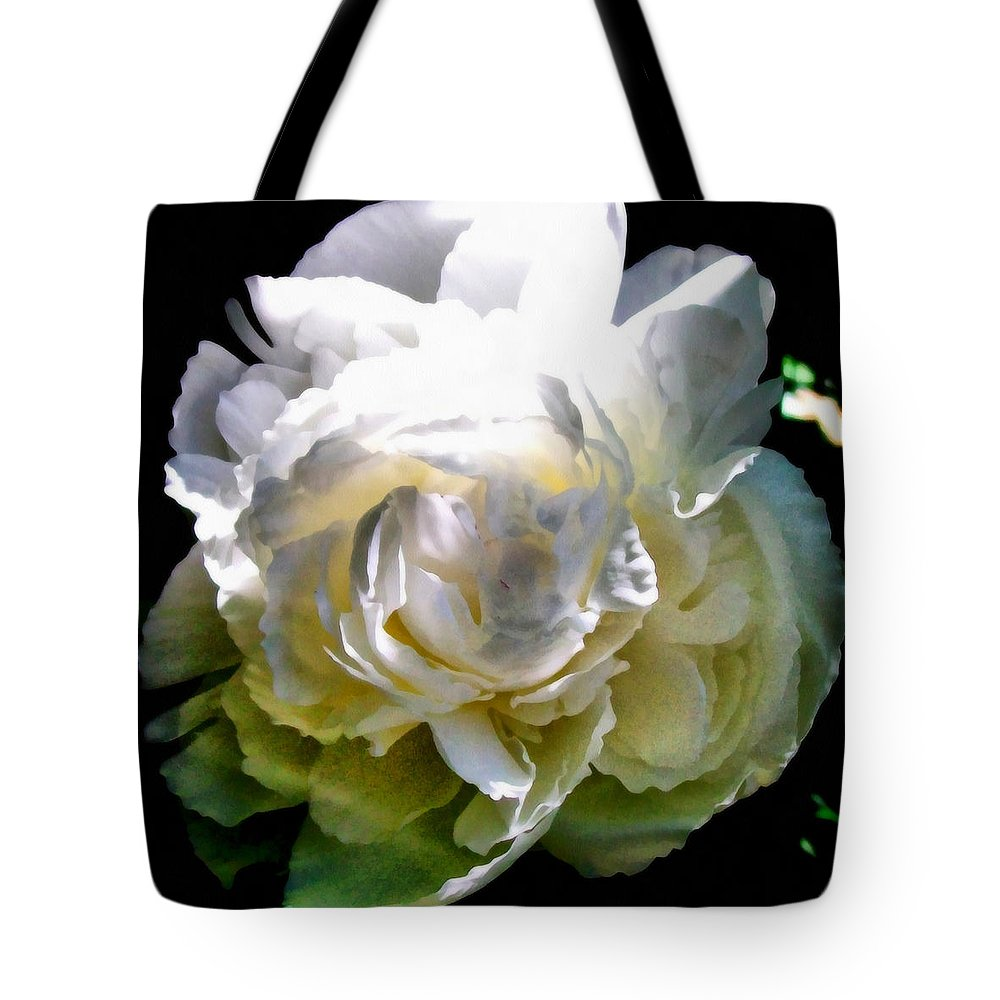 White Peony Tote Bag featuring the photograph Peony In Morning Sun by Michelle Calkins