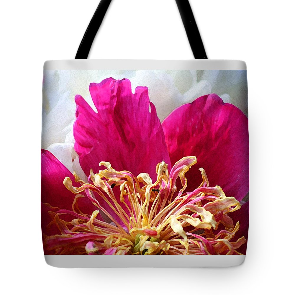 Peony Tote Bag featuring the photograph Peony Painterly by Karen Adams