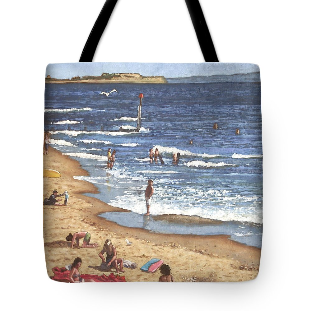 Bournemouth Tote Bag featuring the painting people on Bournemouth beach Blue Sea by Martin Davey