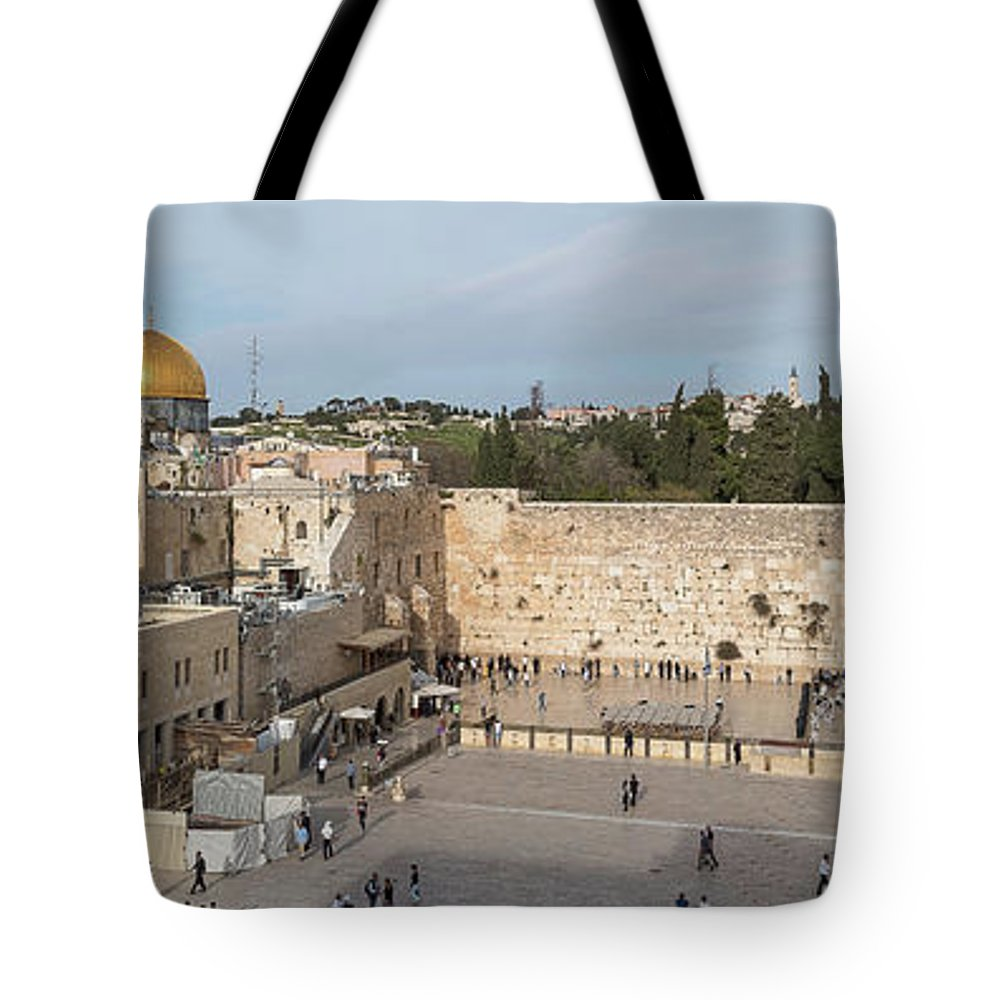 Photography Tote Bag featuring the photograph People Praying At At Western Wall by Panoramic Images