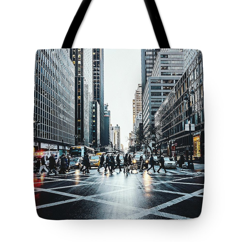 Pedestrian Tote Bag featuring the photograph People Walking On City Street by Sven Hartmann / Eyeem