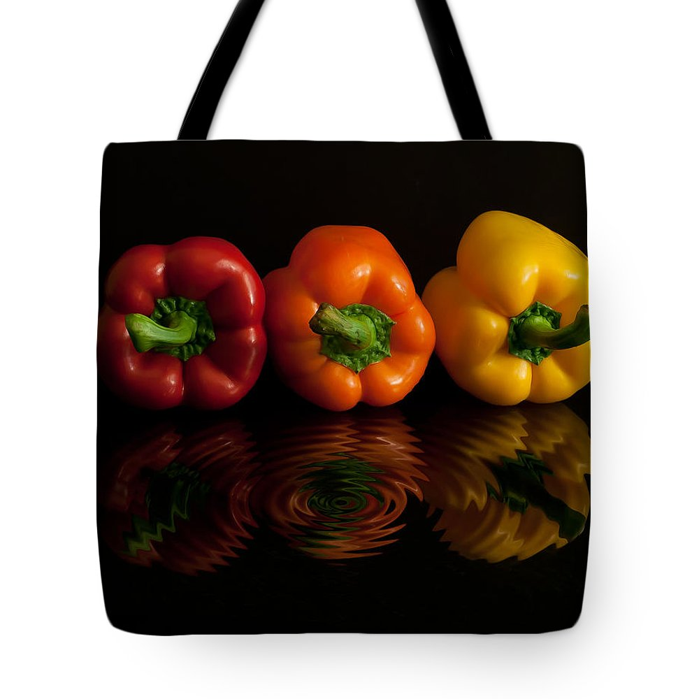 Bell Tote Bag featuring the photograph Peppers by Photos By Cassandra