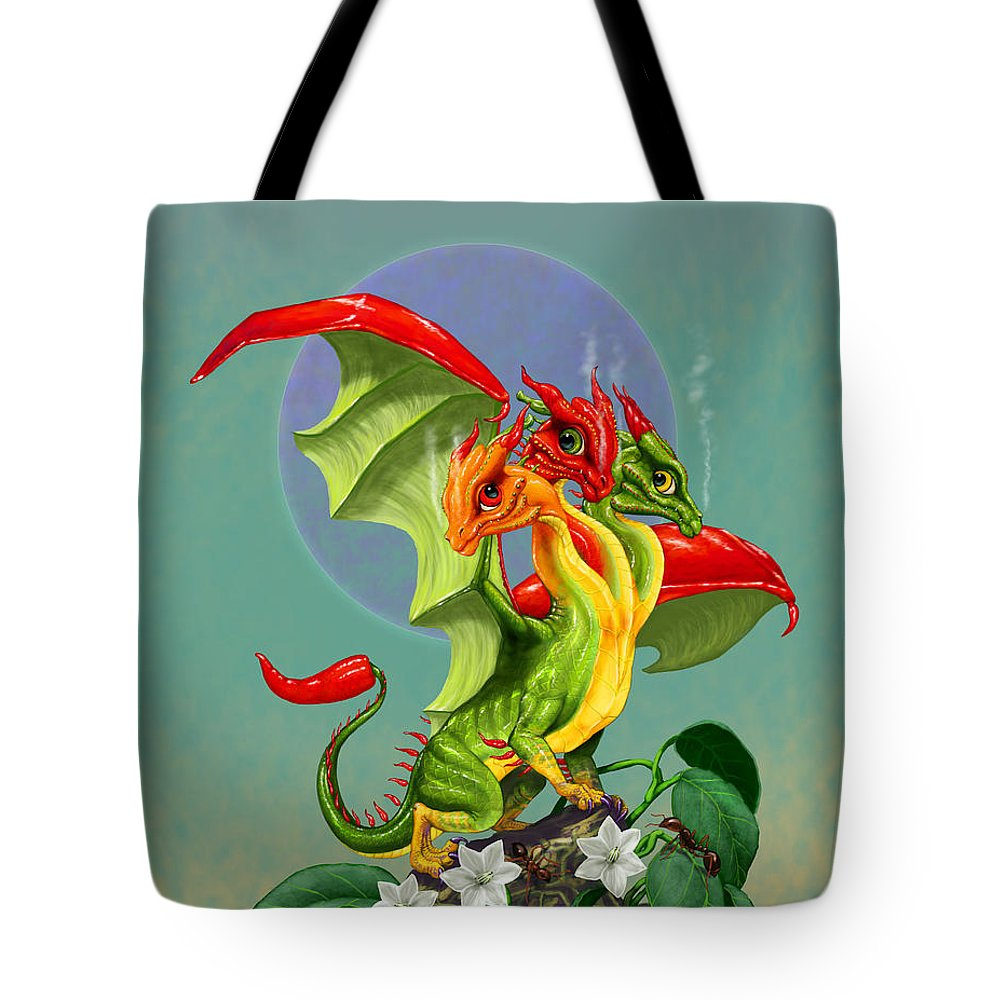 Dragon Tote Bag featuring the digital art Peppers Dragon by Stanley Morrison