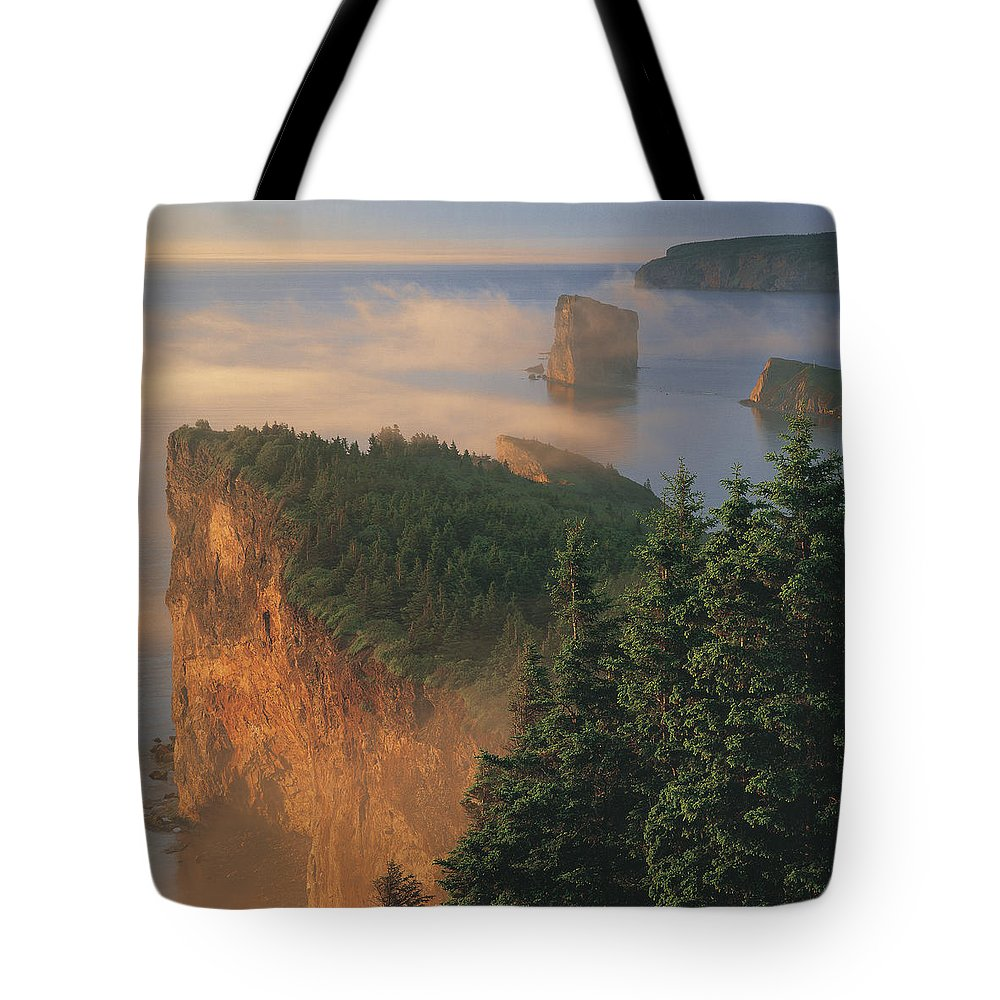 Light Tote Bag featuring the photograph Perce Rock And The Three Sisters In Fog by Claude Bouchard