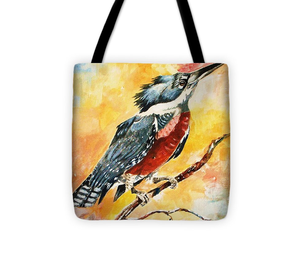 Bird Kingfisher Tote Bag featuring the painting Perched Kingfisher by Al Brown