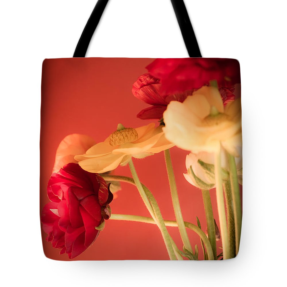 Ranunculus Tote Bag featuring the photograph Perfctly Poised by Jan Bickerton