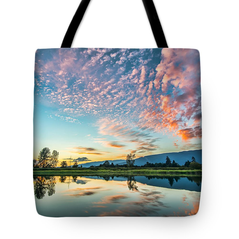 Alouette River Tote Bag featuring the photograph Perfect Sunset Clouds by James Wheeler
