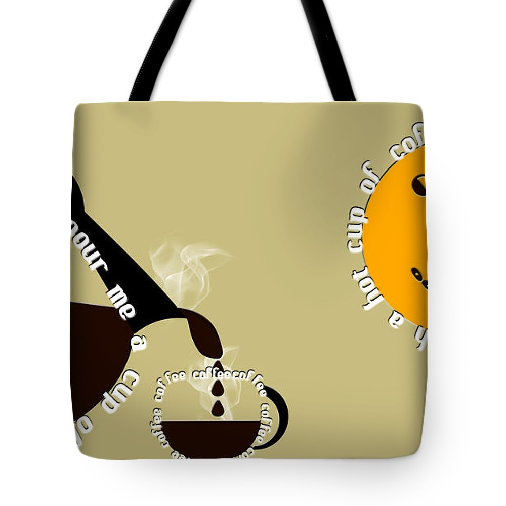 Coffee Tote Bag featuring the digital art Perk Up With A Cup Of Coffee 12 by Andee Design