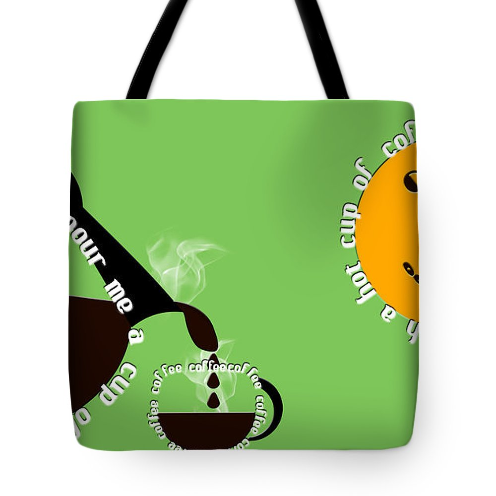 Coffee Tote Bag featuring the digital art Perk Up With A Cup Of Coffee 15 by Andee Design
