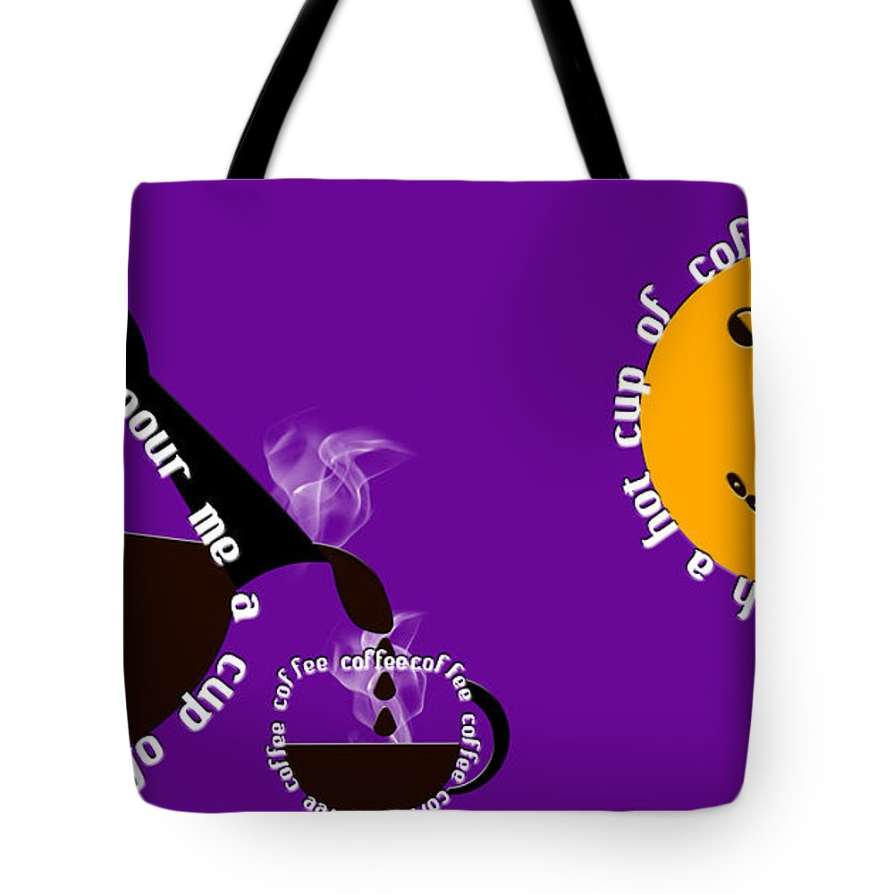 Coffee Tote Bag featuring the digital art Perk Up With A Cup Of Coffee 9 by Andee Design