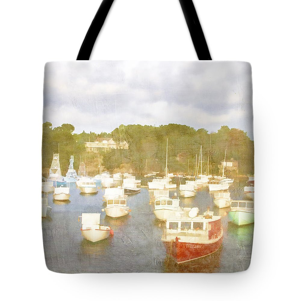 Perkins Cove Tote Bag featuring the photograph Perkins Cove Lobster Boats Maine by Carol Leigh