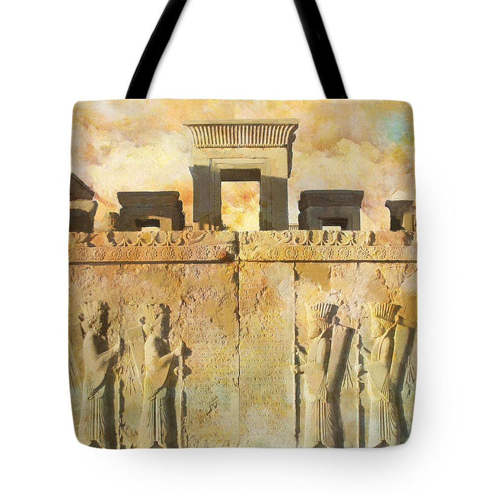 Iran Art Tote Bag featuring the painting Persepolis by Catf