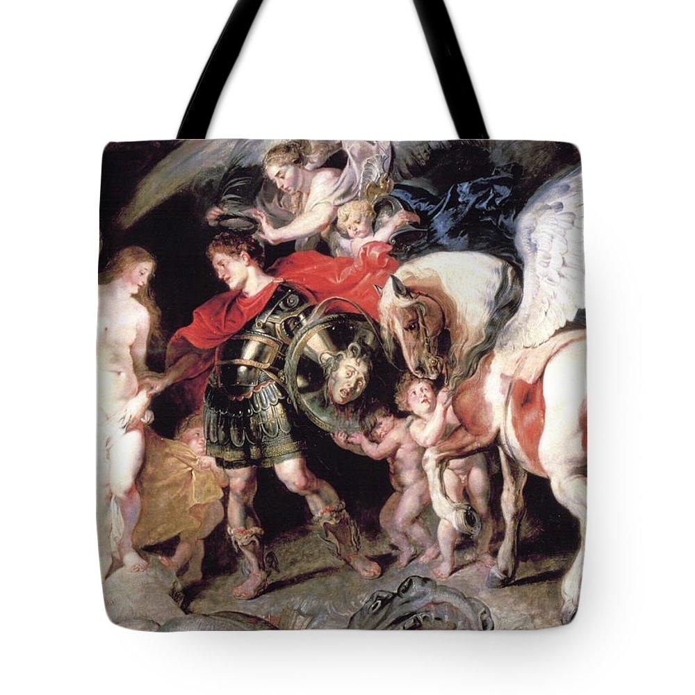 Peter Paul Rubens Tote Bag featuring the digital art Perseus Liberating Andromeda by Peter Paul Rubens