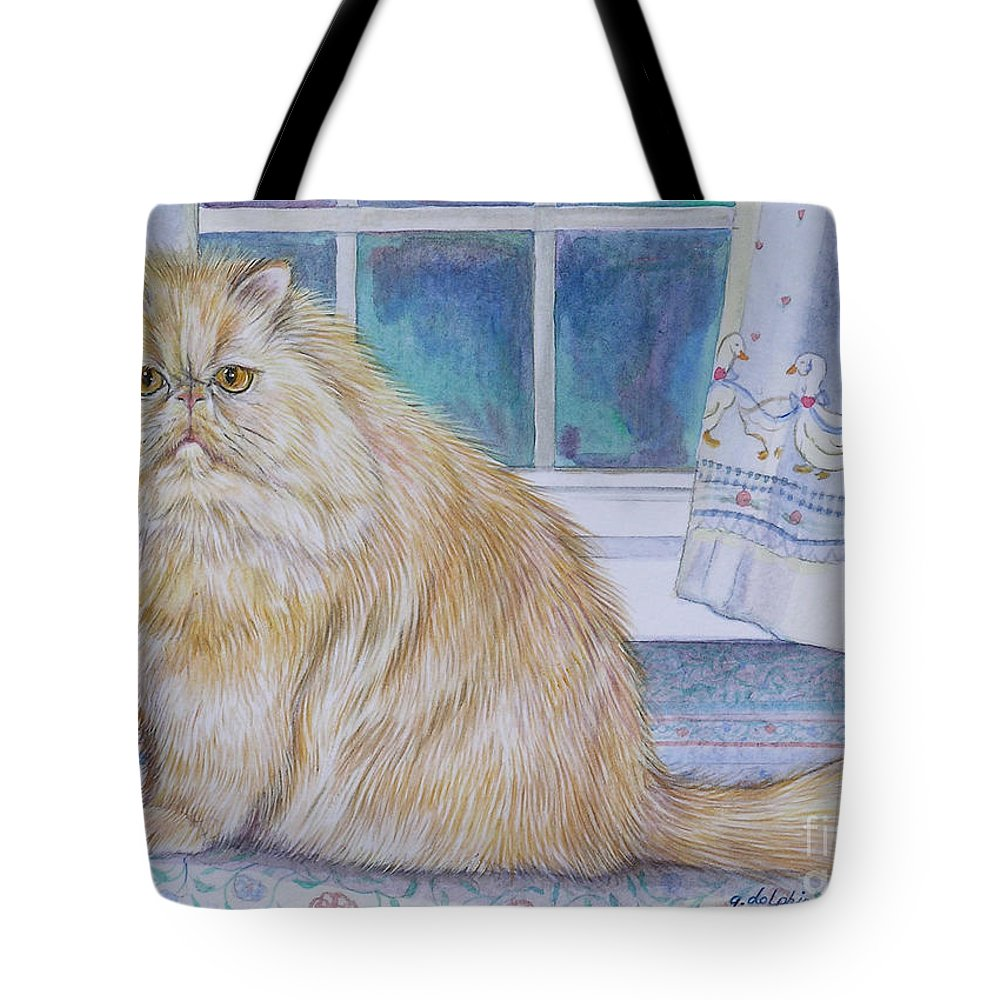 Persian Cat Tote Bag featuring the painting Persian Cat In Kitchen by Gail Dolphin