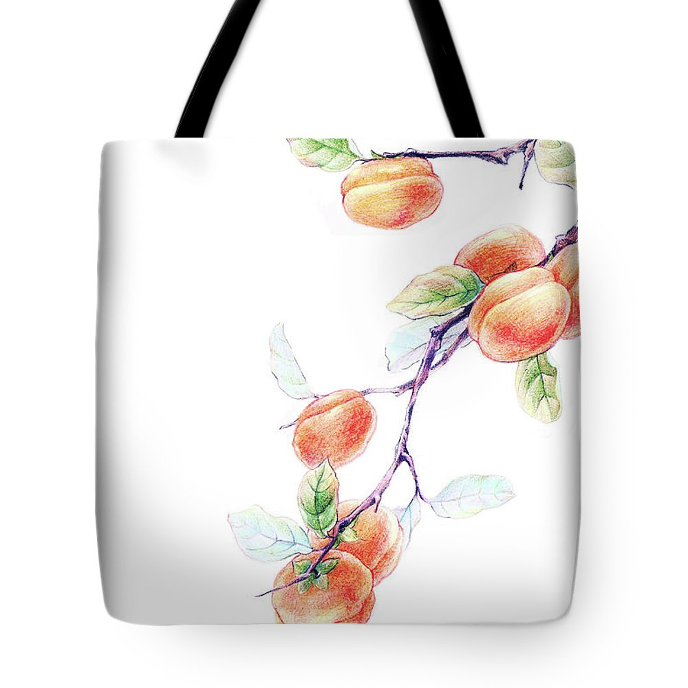 White Background Tote Bag featuring the digital art Persimmon Tree by Bji / Blue Jean Images