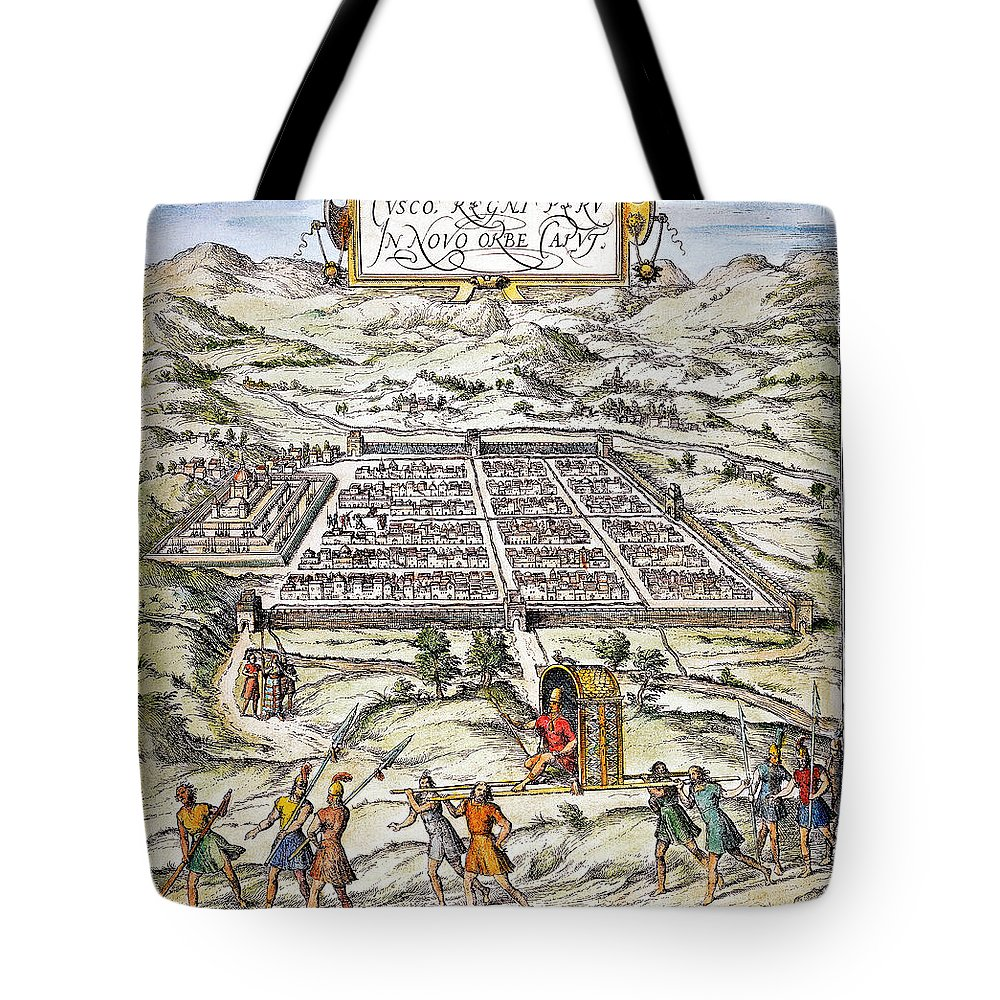 1572 Tote Bag featuring the photograph Peru: Cuzco, 1572 by Granger