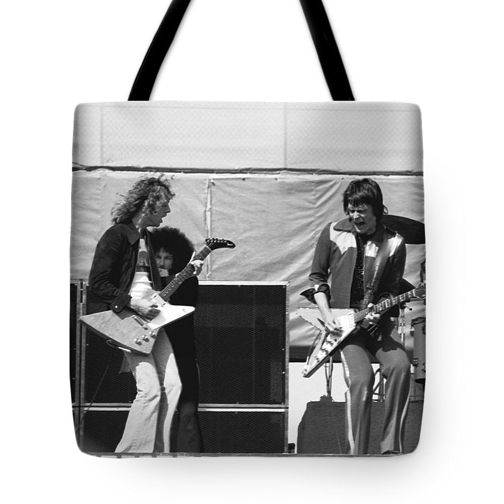 Peter Frampton Tote Bag featuring the photograph Day On The Green 6-6-76 #2 by Ben Upham