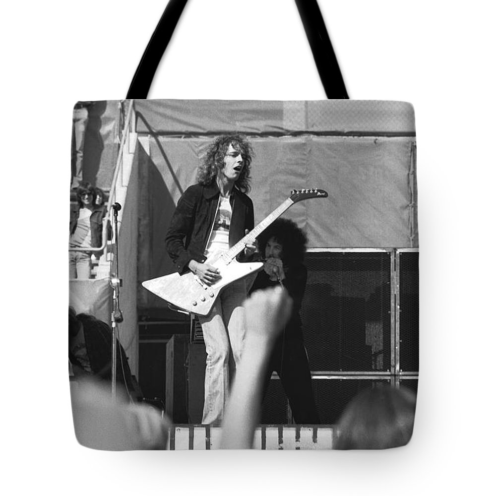 Peter Frampton Tote Bag featuring the photograph Day On The Green 6-6-76 #6 by Ben Upham
