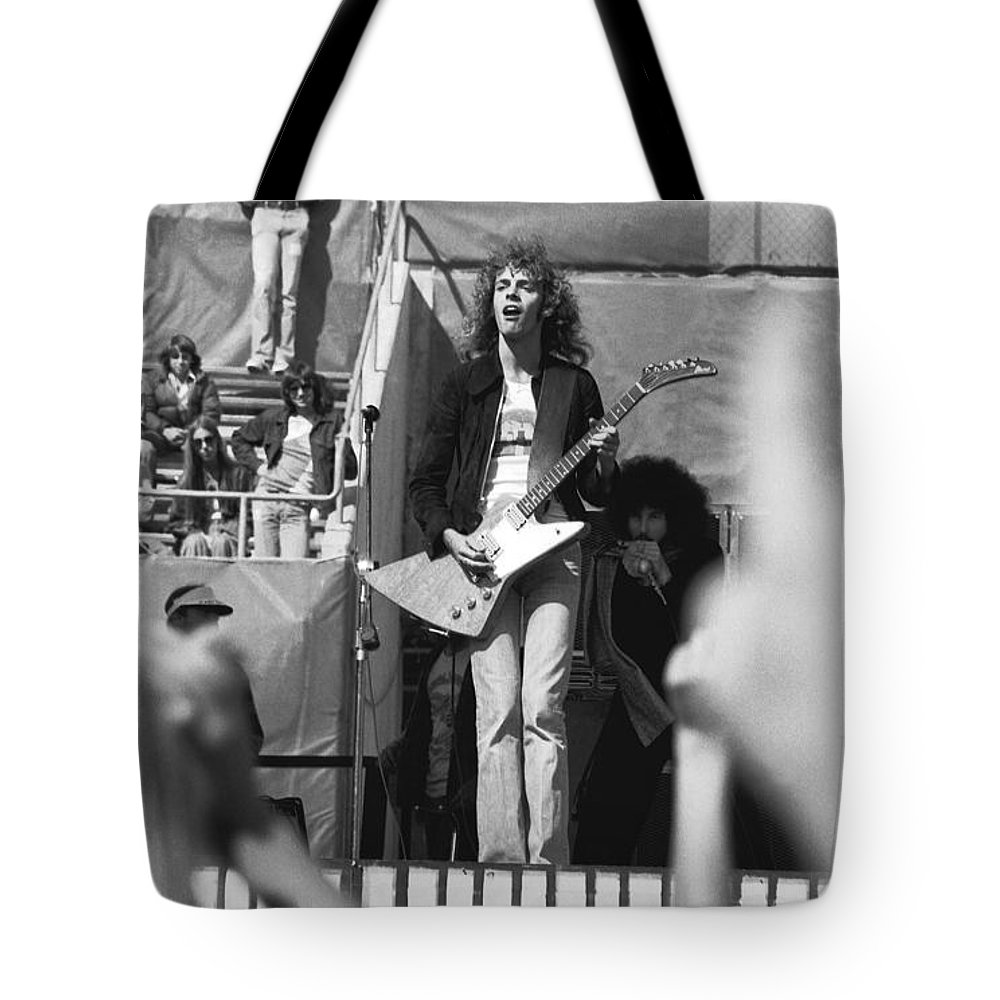 Peter Frampton Tote Bag featuring the photograph Day On The Green 6-6-76 #5 by Ben Upham